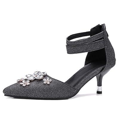 TAOFFEN Damen Party Knochelriemchen Sandalen D'orsay Pumps Sommer Schuhe Black Size 32 Asian feQk7R