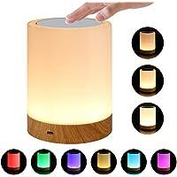 Lámpara de mesita de noche con sensor táctil, LED que cambia de color, luz de noche táctil, regulable, luz blanca cálida para dormitorio, regalo para mujeres, hombres, niños