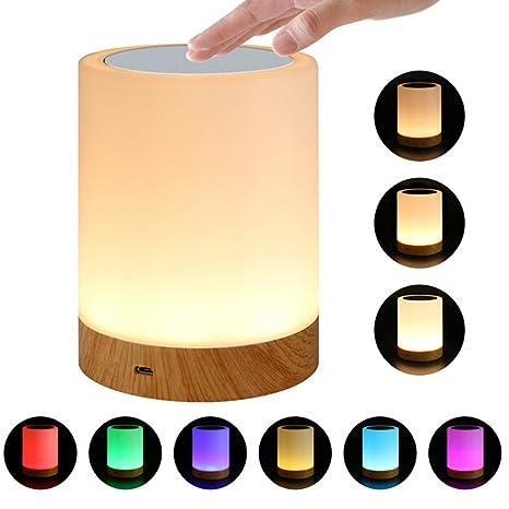 Lámpara de mesita de noche con sensor táctil, LED que cambia de color, luz de noche táctil, regulable, luz blanca cálida para dormitorio, regalo para ...