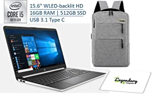 "HP 2020 15 15.6"" HD Touchscreen Premium Laptop - 10th Gen Intel Core i5-1035G1, 16GB DDR4, 512GB SSD, USB Type-C, HDMI, Windows 10 - Silver W/ Legendary Computer Backpack & Mouse Pad Bundle"