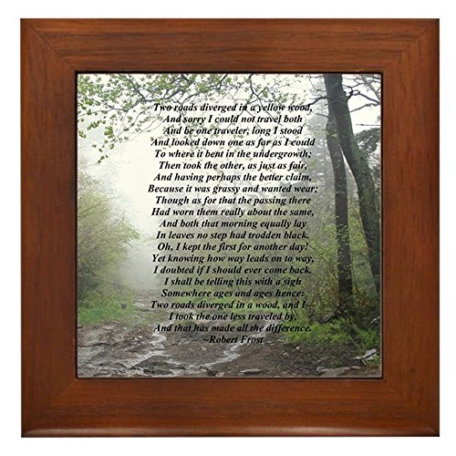 CafePress - Road Less Taken - Framed Tile, Decorative Tile Wall Hanging