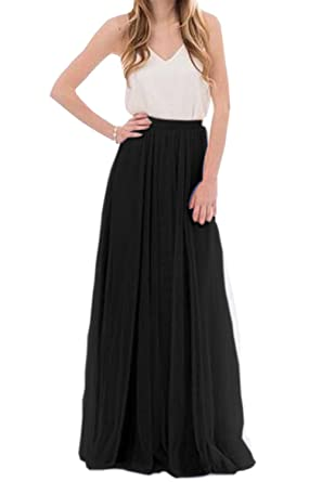 Omelas Womens Long Floor Length Tulle Skirt High Waisted Maxi Tutu Party Dress Black