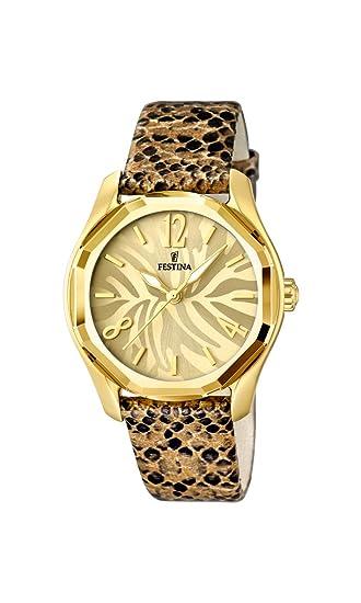 Festina F16738/1 - Reloj de cuarzo para mujer, con correa de cuero, color marrón: Festina: Amazon.es: Relojes