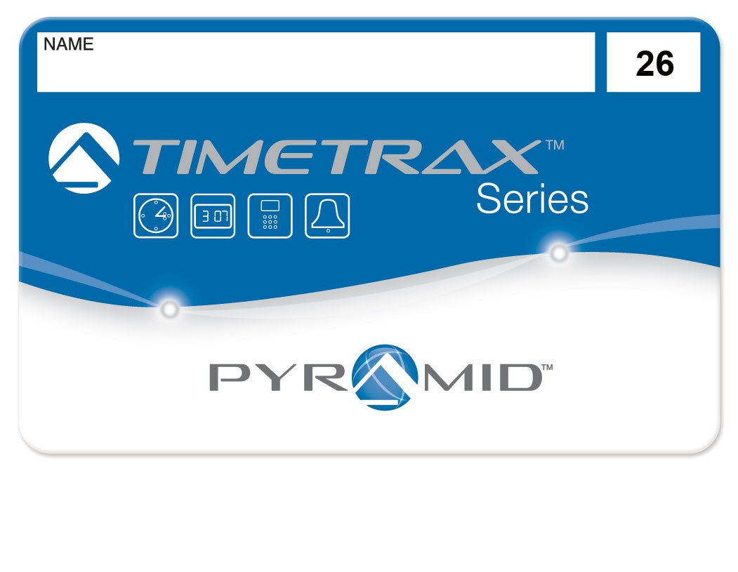 Pyramid 41303 employee swipe cards numbered 26-50 for TimeTrax TTEZ, TTEZEK, PSDLAUBKK, TTPRO, TTMOBILE, FASTTIME 8000, FASTIME 9000 Time Clock Systems. Requires 25-Employee Upgrade Software Package if purchased for TTEZ Time Clock System. 25/pk by Pyramid Time Systems
