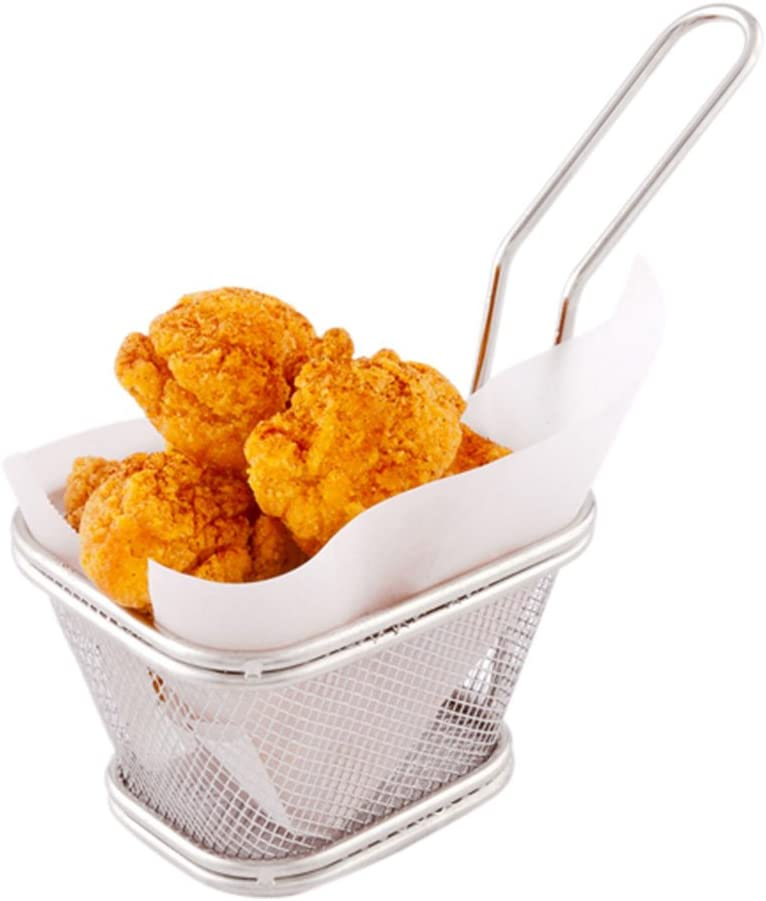 5 Inch x 4 Inch Fryer Basket, 1 Square Small Fry Basket - Mesh Grid, With Handle, Silver Stainless Steel French Fry Basket, Food Grade, For Tenders, Fried Shrimp, And More - Restaurantware
