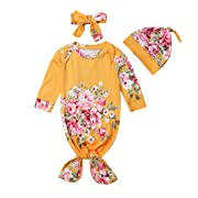 Newborn Baby Girl Floral Gown with Headband Hat Infant Sleepy Romper Sleeping Bag (Yellow, 0-3 Months)