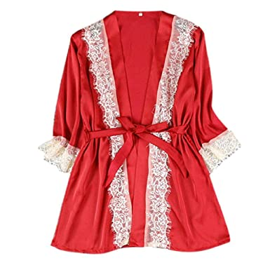 Luckycat Ropa Interior Lencería Mujer Seda Vestido de Bata de Encaje Babydoll Camisón Ropa de Dormir