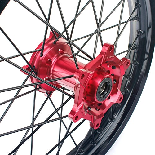 TARAZON 21'' 18'' Off-road Complete Wheel Set Rims Spokes Red Hubs for Honda CRF250R 04-13 CRF450R 04-12 CRF 250X 450X 04-16 by TARAZON (Image #1)