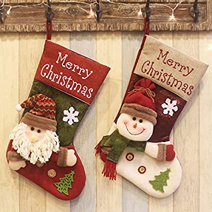qbsm 2 pack 188 plush 3d classic large xmas christmas stockings christmas party decoration gift - Large Christmas Stockings