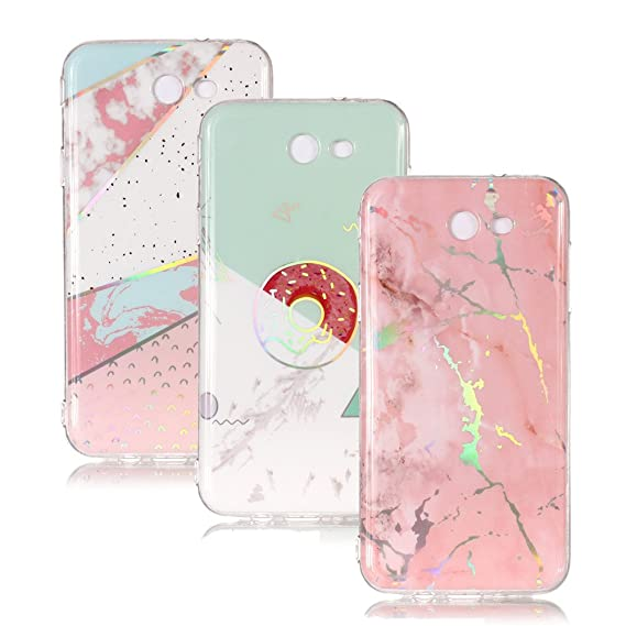 new styles 8f9bc 89fea Amazon.com: IVY Galaxy J3 Prime Marble Case [3 Pack] with Colour ...
