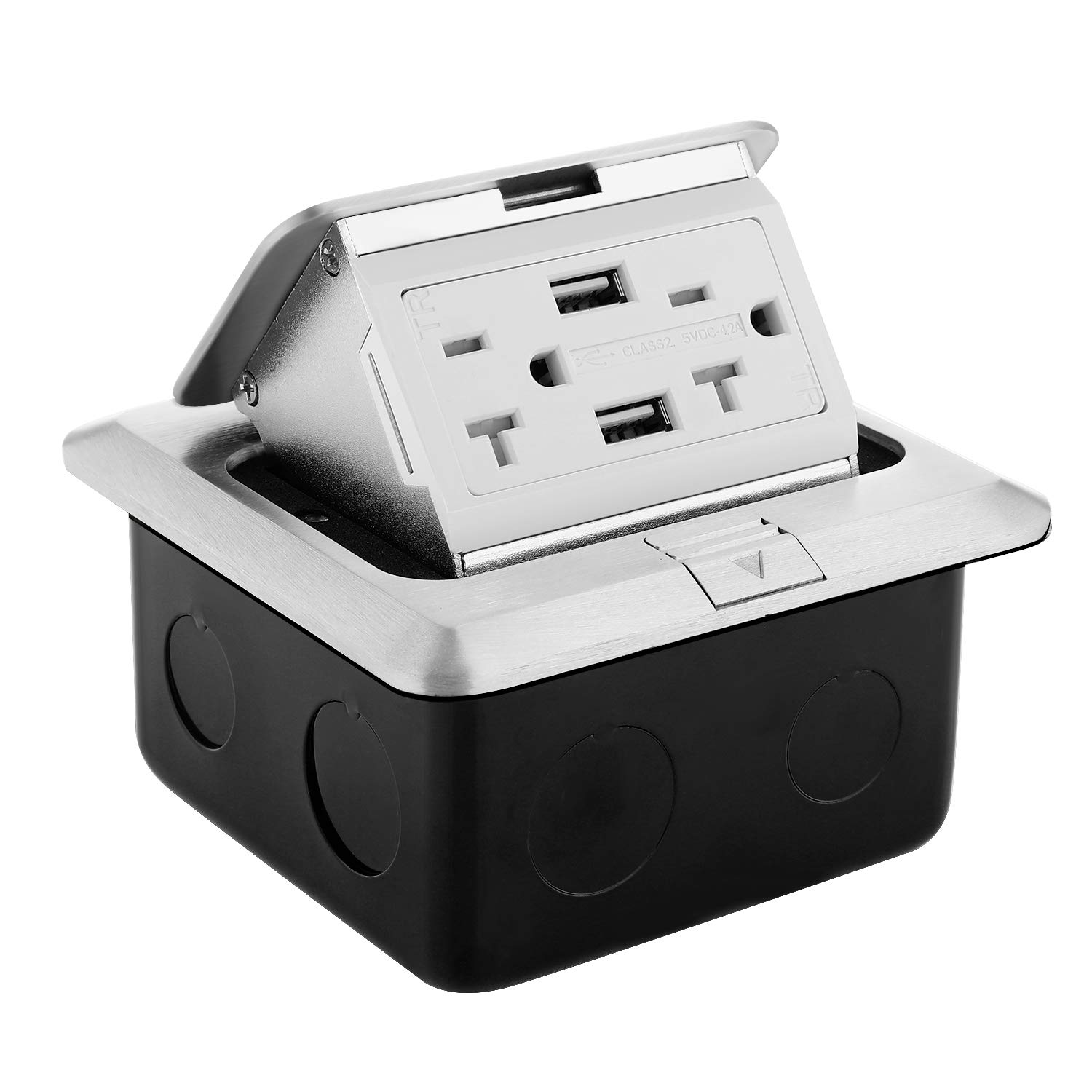 WEBANG Pop Up Floor Outlet Covers box with 20 Amp Stainless Steel USB TR Recaptacle outlet (Silver)