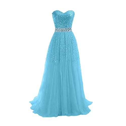 DingDingMail Women's Exquisite Sweetheart Tulle Long Prom Dresses 2017 Lace Up Party Gowns (067)