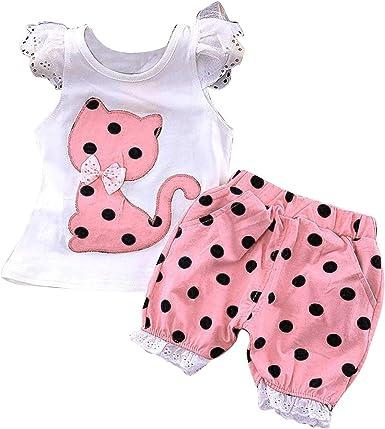 Tianhaik - Camisa con volantes para bebé y niña con bolsillos+pantalones cortos con estampado de puntos: Amazon.es: Ropa y accesorios