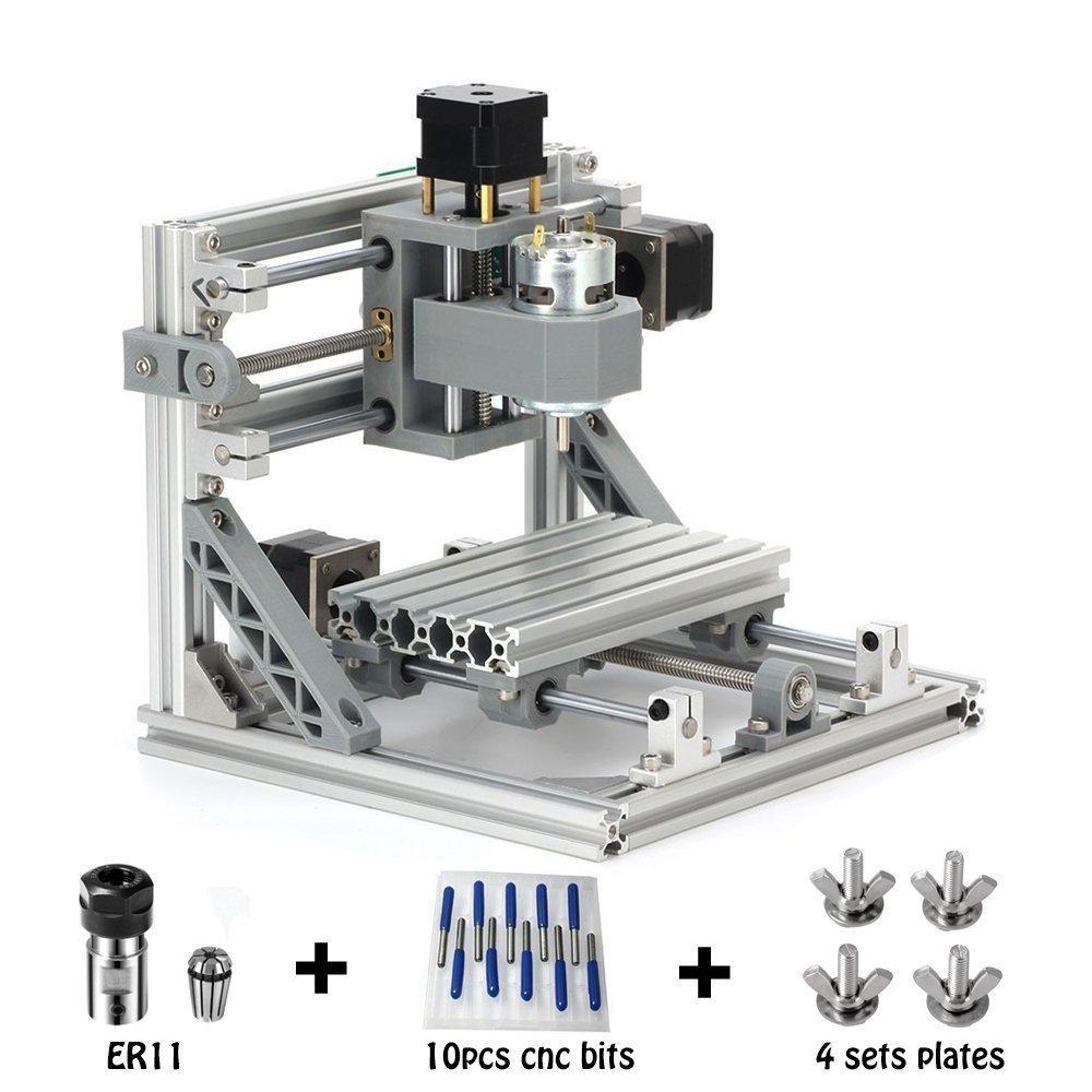 CNC Router Engraving Machine with 5mm ER11, 160x100mm, PCB PVC Wood Metal Milling Machine + 10PCS CNC Router Bits + 4 Sets CNC Plates