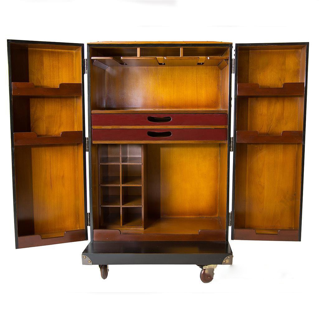 Bar Black Steamer Travel Trunk 39'' Nautical Furniture by Nautical Home Decoration