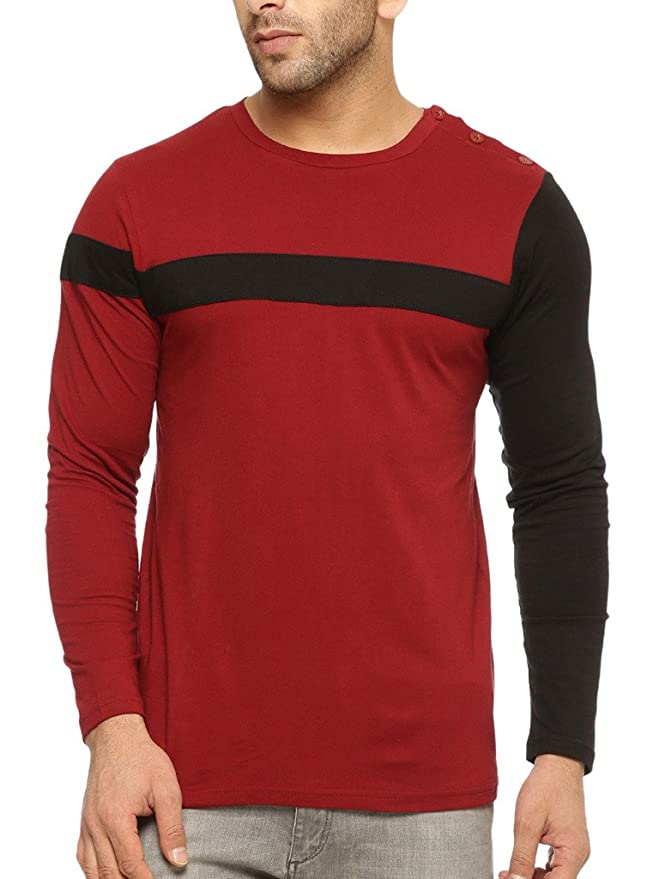 GRITSTONES Round Neck Full Sleeve T Shirt GSFSTSHT1299MRNBLK Men's T-Shirts at amazon