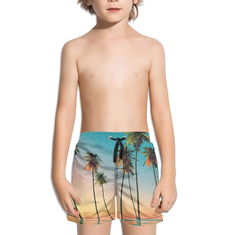 Boys Kids Sunsets Hawaii Quick Dry Beach Swim Trunk Novelty Swimsuit Beach Shorts with Drawstring