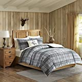 3pc Cabin Brown Grey Plaid Comforter Twin Set, Madras Tartan Pattern Bedding Down Moose Pillows Light Gray Lodge Hunting Themed Cozy Berber Warmth Southwest Colors, Polyester