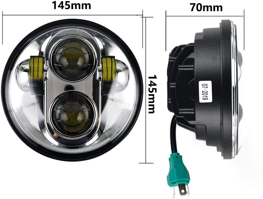 5 3//4 5.75 LED Headlight Sealed Headlamp Compatible with Sportster XL 883 1200 2004-2019