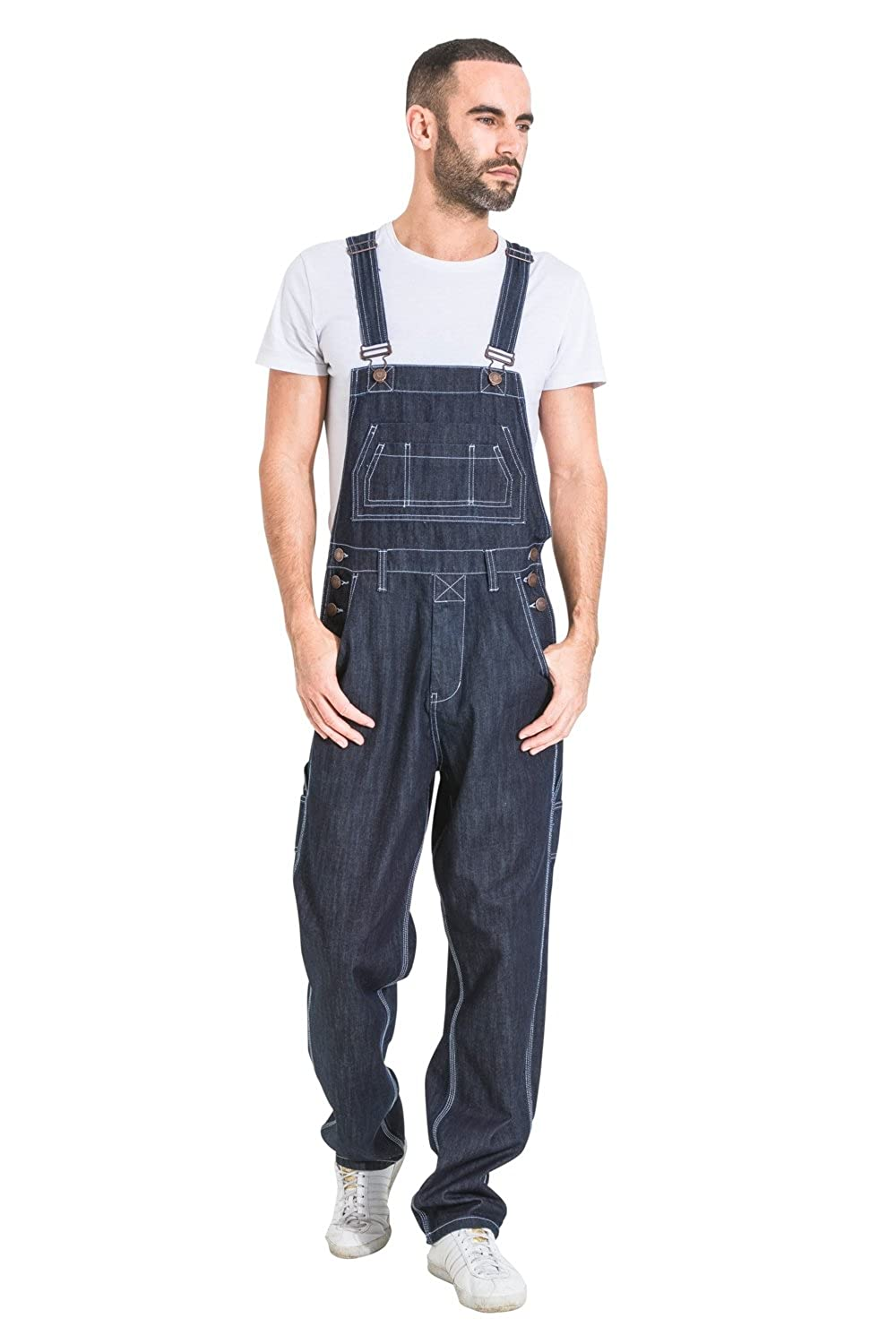 G8 One Mens Loose Fit Denim Dungarees - Dark Blue Value Overalls Cheap Dungarees MENSVALUEDARKBLUE-L-36
