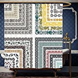 Wanranhome Custom-made shower curtain Antique by Retro Royal Islamic Authentic Ornate Swirling Ethnic Ancient Figure and Lines Mosaic Design Multi For Bathroom Decoration 72 x 88 inches