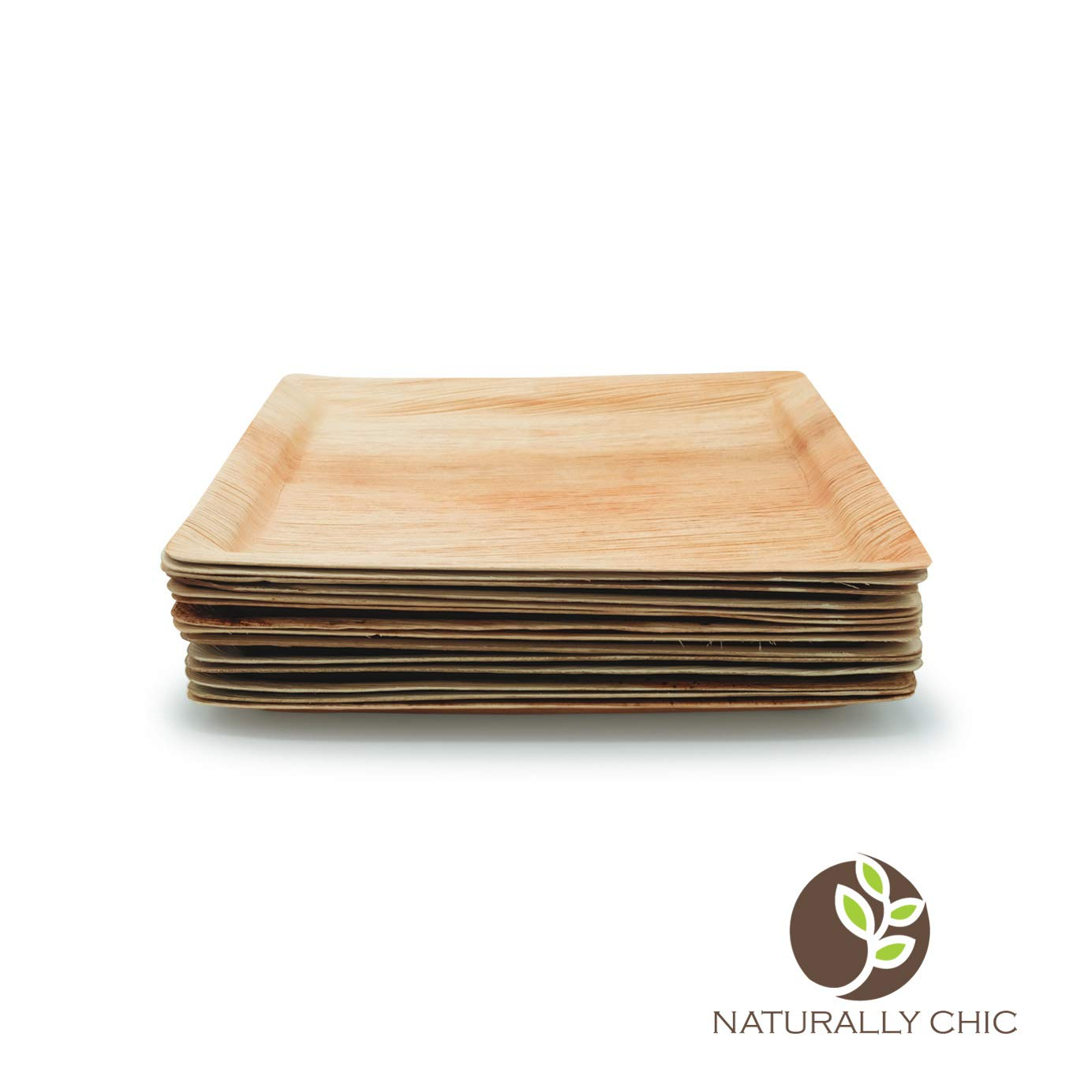 Naturally Chic Palm Leaf Compostable Serving Trays - 12 x 10 Inch Biodegradable Disposable Eco Friendly Trays for Weddings, Parties, BBQs, Events (10 Pack)