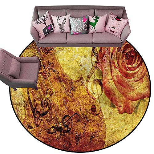 (Floor Mat Home Decoration Supplies Rose,Violin and Musical Note Grunge Diameter 60