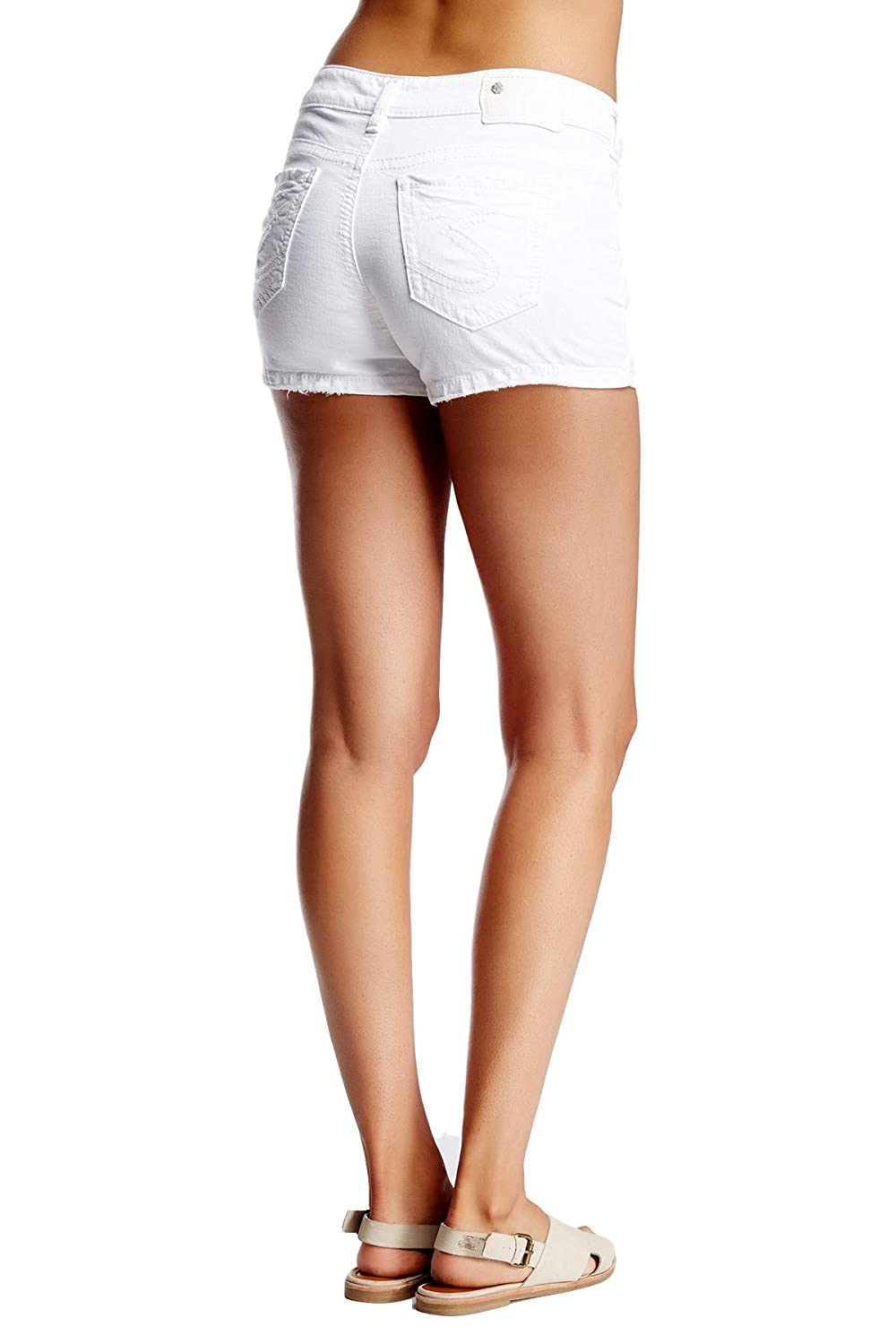 Womens Silver Jeans Mid Rise Aiko White Jean Mid Denim Stretch Shorts