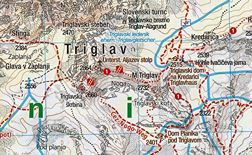 Triglav Julian Alps Slovenia 1 25 000 Hiking Map Laminated