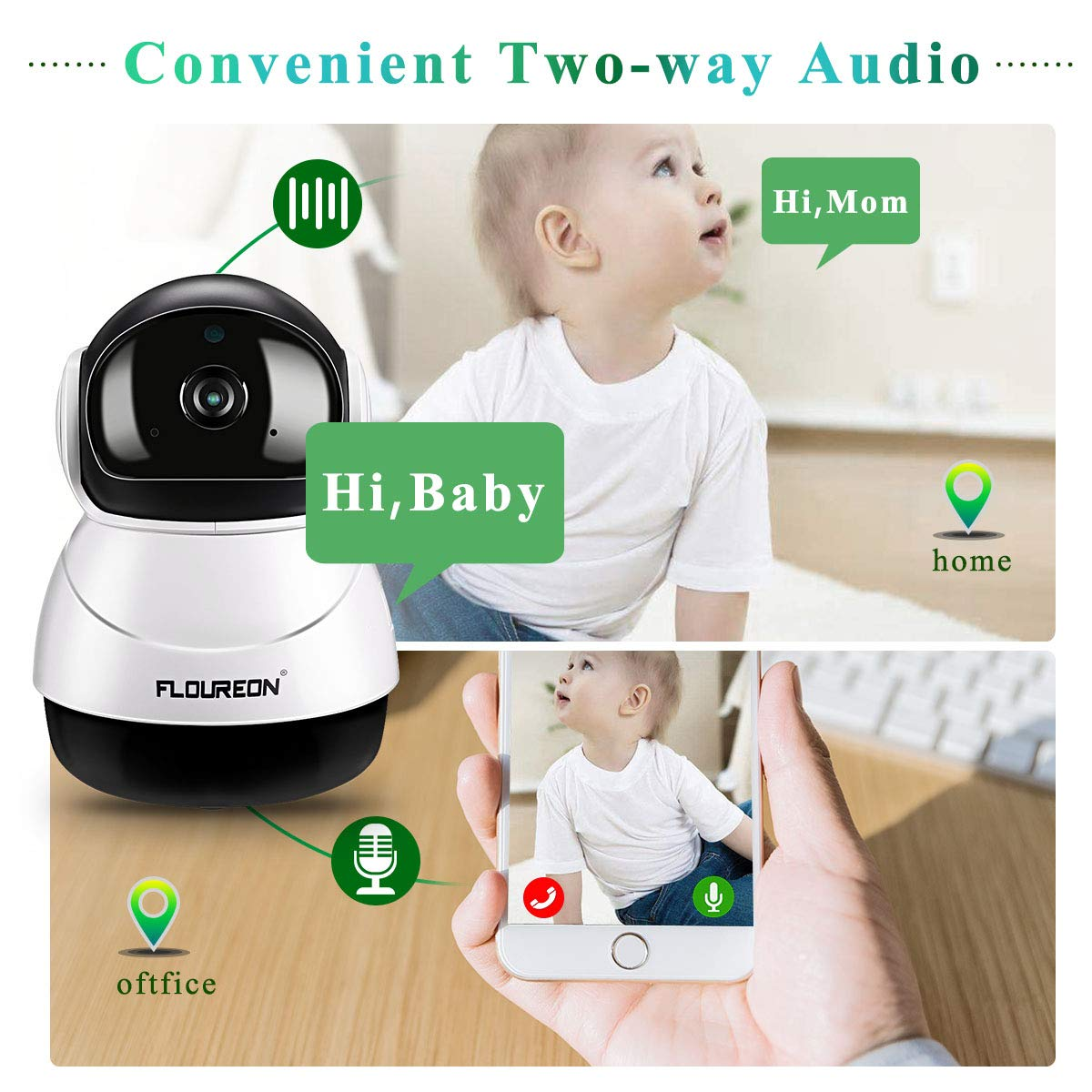 FLOUREON WiFi IP Camera 1080P HD H.264 WiFi 2.0 Megapixel Wireless CCTV Security IP Camera Two-Way Audio Surveillance System with Night Vision & Motion Detection for Baby Monitor Home Security