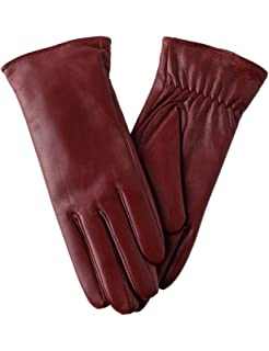 2b30ad198 Super-soft Leather Winter Gloves for Women Full-Hand Touchscreen Warm  Cashmere Lined Perfect