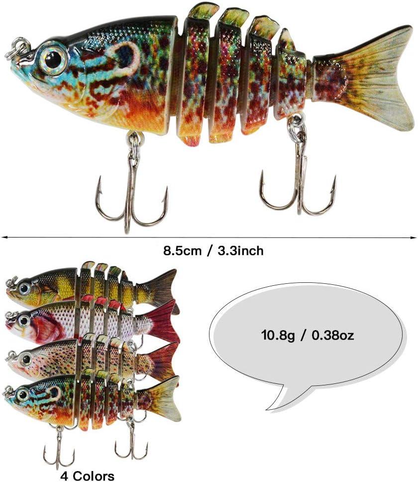 Rose Kuli Bass Fishing Lures Lifelike Multi Jointed Swimbaits Slow Sinking Hard Bait Fishing Tackle Kits