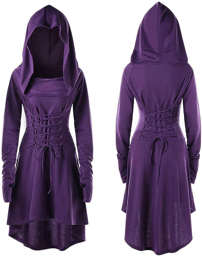 POLPqeD Donna Carnevale Pasqua Cosplay Vestito Costume Partito Medievale Boho Vestito Retro Allacciare Lungo Sottile Abito O-Collo Campana Maniche Colore Puro Dress
