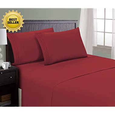 HC Collection Bed Sheet & Pillowcase Set HOTEL LUXURY 1800 Series Egyptian Quality Bedding Collection! Deep Pocket, Wrinkle & Fade Resistant,Luxurious,Comfortable,Extremely Durable(Queen, Burgundy)