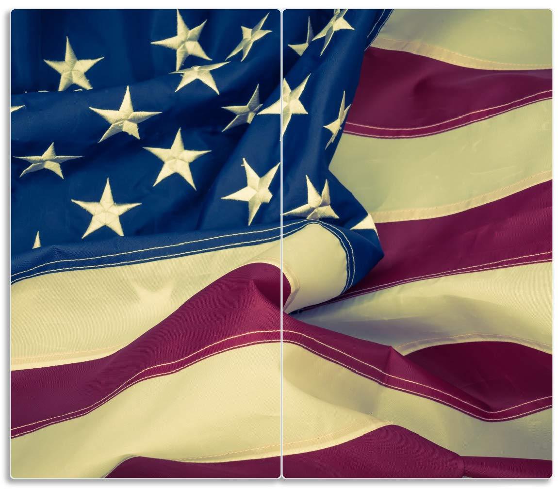 Wallario Herdabdeckplatte//Spritzschutz aus Glas f/ür Ceran- und Induktionsherde Amerikanische Flagge im Wind 52x60cm 1-teilig
