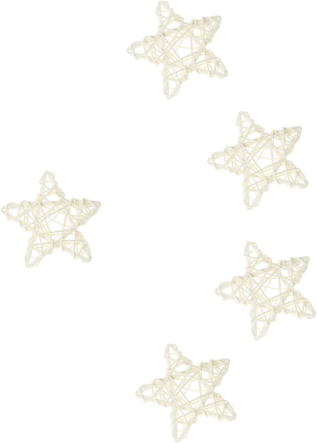 DIY NX Garden Hanging Embellishments 10PCS White Wooden Stars Shaped Hanging Embellishments Decoration for Christmas Wedding,Crafts