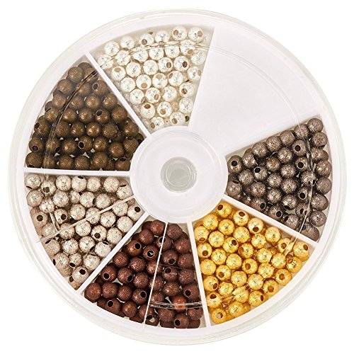 Nickel Round Beads (Pandahall 350pcs/box 6 Colors 4mm Brass Stardust Round Spacer Beads, Nickel Free, Mixed Color)