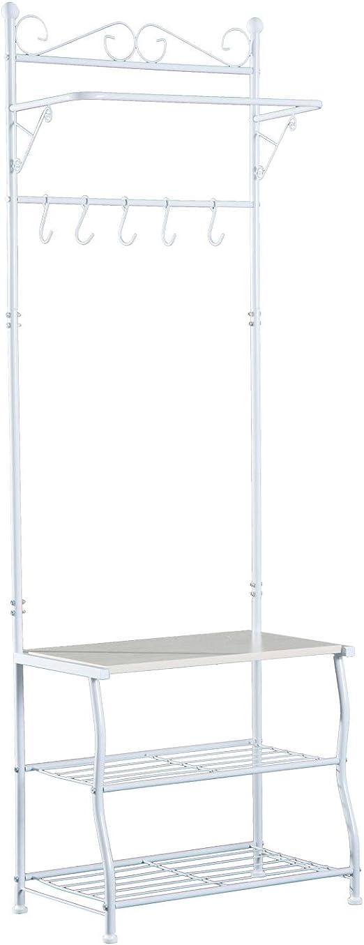 Kleiderstange 215 x 32 x 180 cm Garderobenst/änder ABS Silber Stahl Wei/ß Kunststoff HOMCOM Kleiderst/änder