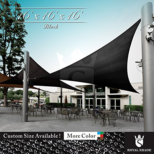 Royal Shade 16' x 16' x 16' Black Triangle Sun Shade Sail Canopy Outdoor Patio Fabric Shelter Cloth Screen Awning - 95% UV Protection, 200 GSM, Heavy Duty, 5 Years ()