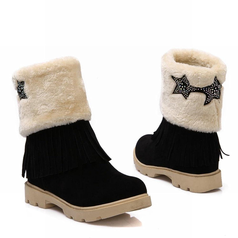Latasa Women's Fashion Mid-calf Faux-fur Upper, Tassels-decorated Snow Boots