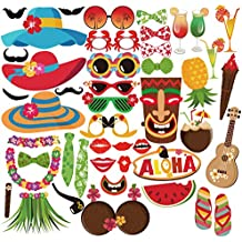 PBPBOX Luau Hawaiian Photo Booth Props Kit 45 Kits for Holiday, Summer Festivals Celebrations, Beach Pool parties, Wedding, Birthdays and More