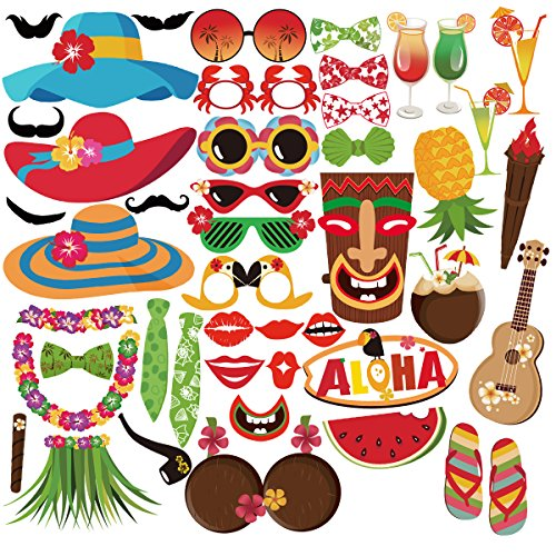 PBPBOX Luau Hawaiian Photo Booth Props Kit 45 Kits for Holiday, Summer Festivals Celebrations, Beach Pool parties, Wedding, Birthdays and (Beach Themed Pool)