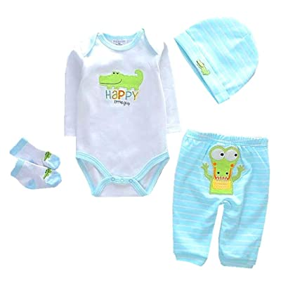 "NPKPINK Reborn Baby Dolls Boy Clothes Light Blue Outfits 4 Piece Set for 20""- 22"" Reborn Dolls Matching Clothing Accessories: Toys & Games"