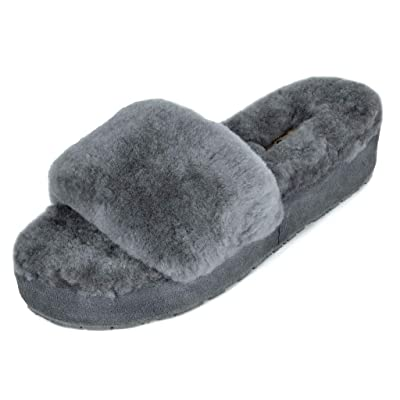 DREAM PAIRS Women's New Spa-01 Slide Fluffy Comfy Winter Slippers | Slippers