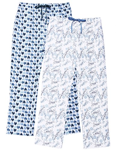 (Noble Mount Women's Flannel Lounge Pants 2-Pack - Floral/Scribbled Hearts Blue - Large)