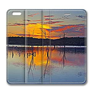 iPhone 6 Leather Case, Personalized Protective Flip Case Cover Sunset Reflection Clinton Lake for New iPhone 6