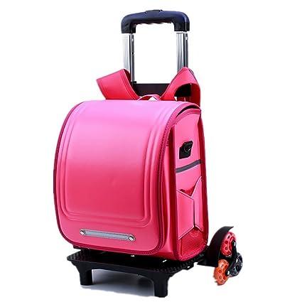 HCC& Luminous Wheeled Backpack Waterproof Kids School Backpack Removable Climbing Stairs Trolley Schoolbag (6 Wheels