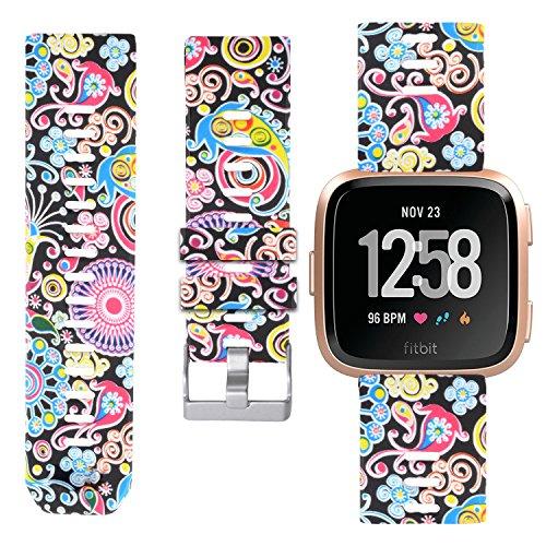 Allbingo Fitbit Versa Cute Bands,Women Men Replacement Strap Wristband for Fitbit Versa Smart Watch (Gorgeous Flowers, Large)