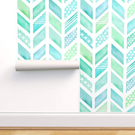 Peel-and-Stick Removable Wallpaper Watercolor Herringbone In Blue And Green Baby