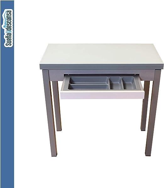 Sueña y Descansa Mesa Libro Tapa de Cristal Color Blanco 90 x 50 ...
